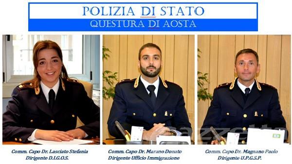 Hanno preso servizio i due nuovi funzionari assegnati alla Questura di Aosta