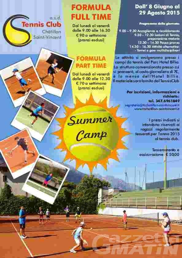Tennis: a St-Vincent c'è il Summer Camp