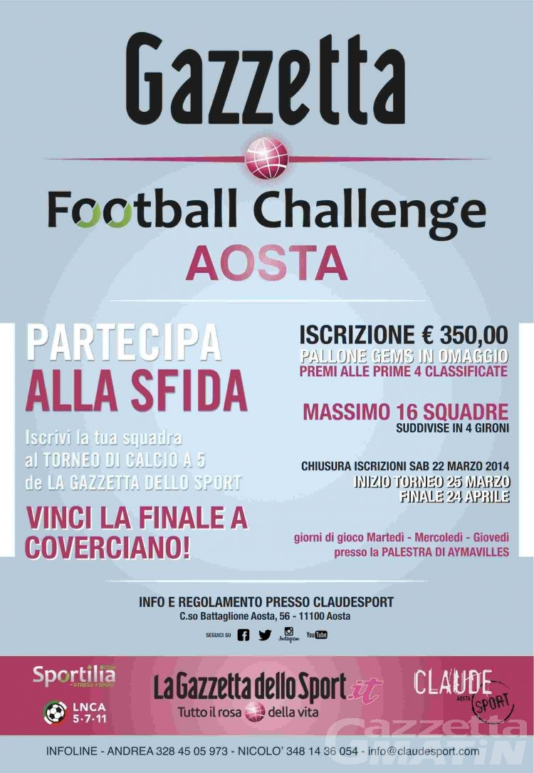 Calcio a 5: il Gazzetta Challenge fa tappa in Valle d'Aosta