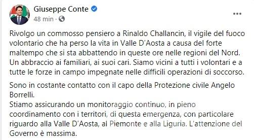 Tragedia ad Arnad: il cordoglio del premier Conte per la morte di Rinaldo Challancin