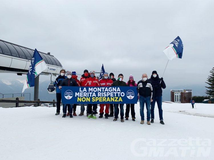 Fratelli d'Italia: manifestazione a Pila a sostegno del mondo dello sci