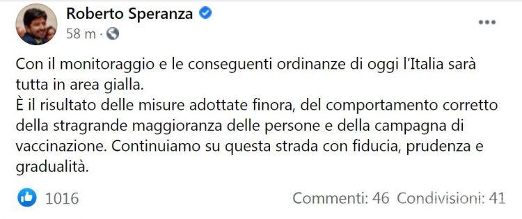 Coronavirus, il ministro Speranza conferma: «Valle d'Aosta in zona gialla da lunedì 24»