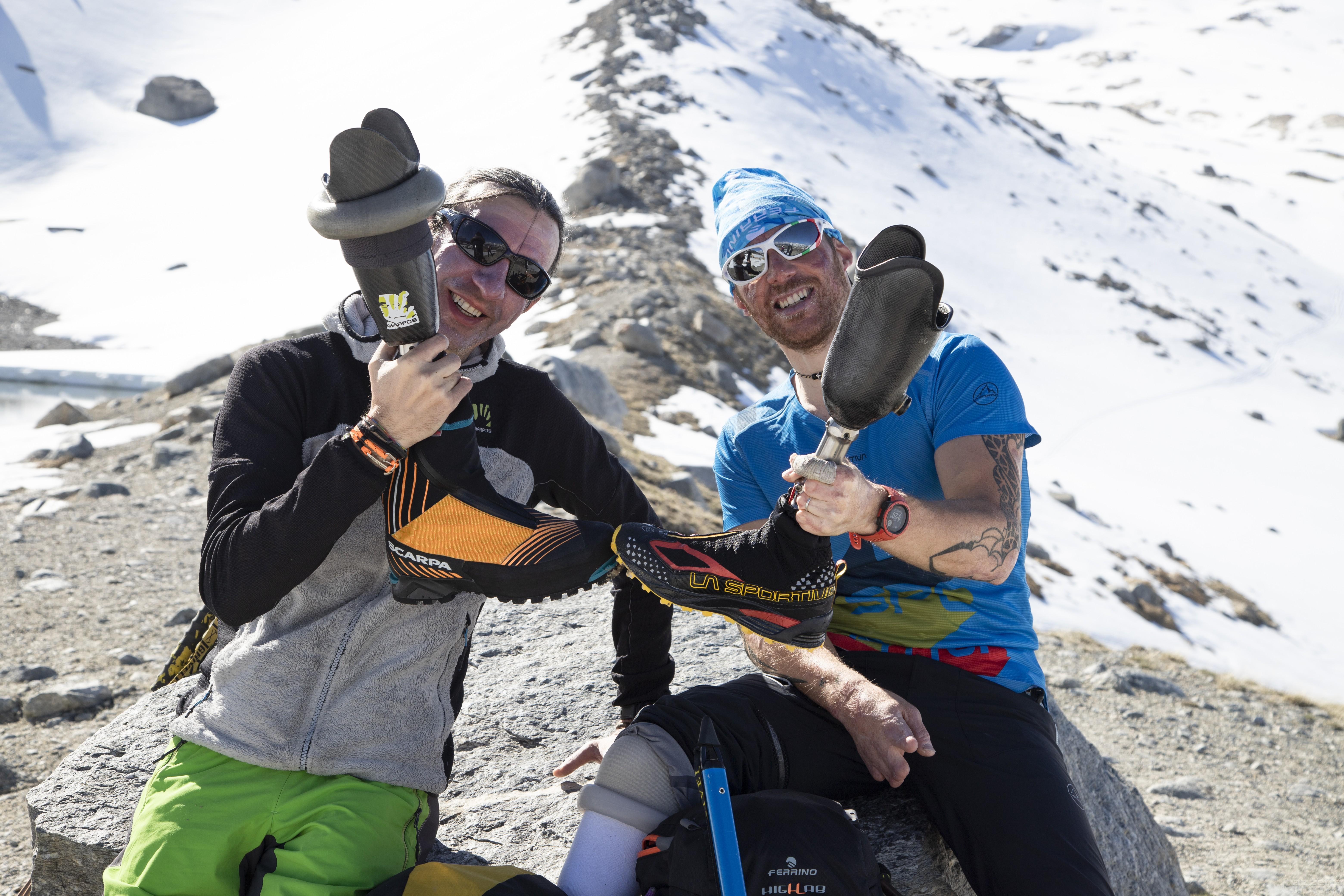 Quando la disabilità non è un ostacolo: coppia di amici tenta l'impresa sul Monte Rosa