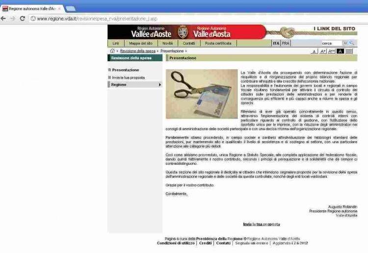 Revisione delle spese, attivo il sito regionale dove segnalare gli sprechi