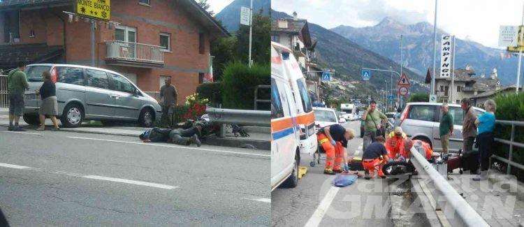 Incidente stradale: centauro ferito a Sarre