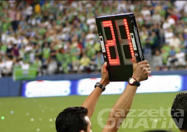 Calcio: approvate le cinque sostituzioni tra i dilettanti