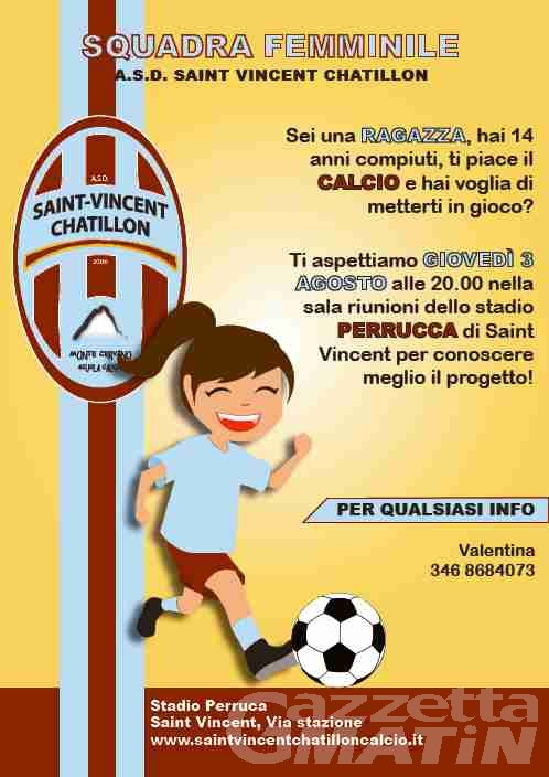 Calcio: il St-Vincent Châtillon pensa a una squadra femminile