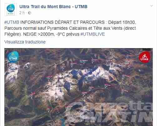 Ultra Trail du Mont Blanc: partenza posticipata di mezz'ora