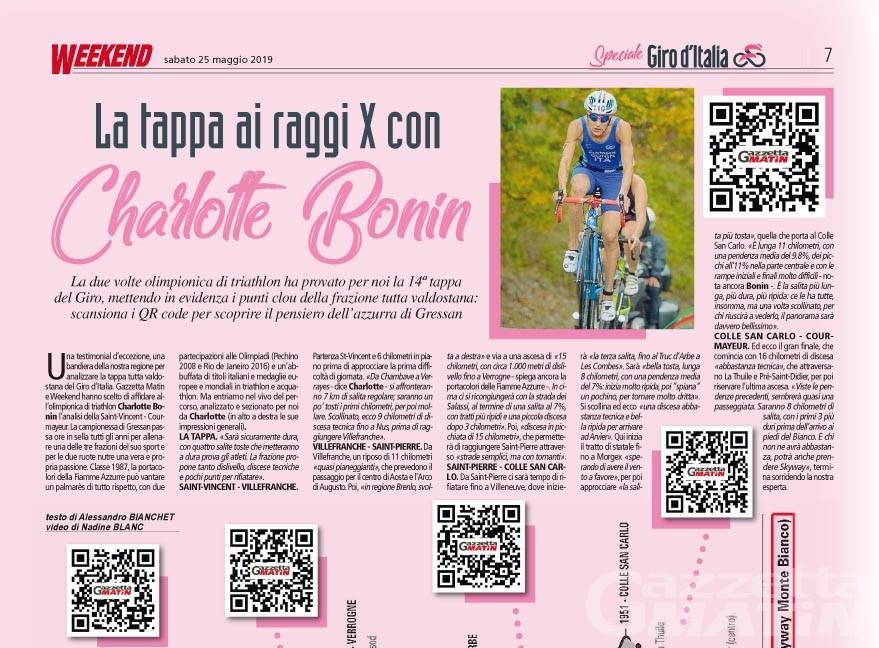 Giro d'Italia, i video della tappa valdostana con Charlotte Bonin