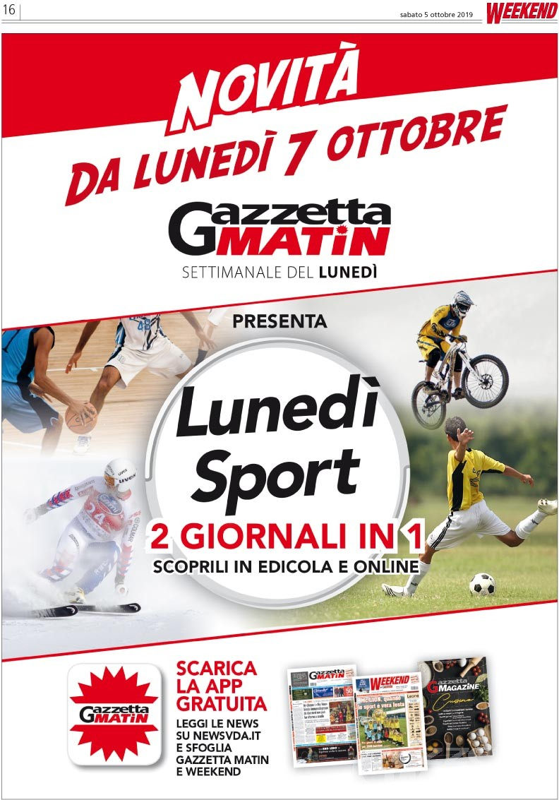 """Editoria: dal 7 ottobre con Gazzetta Matin il fascicolo """"Lunedì Sport"""""""