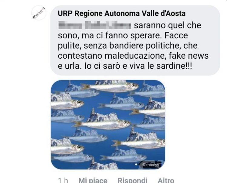 Sardine in Valle d'Aosta: bufera social per l'Ufficio relazioni pubbliche della Regione