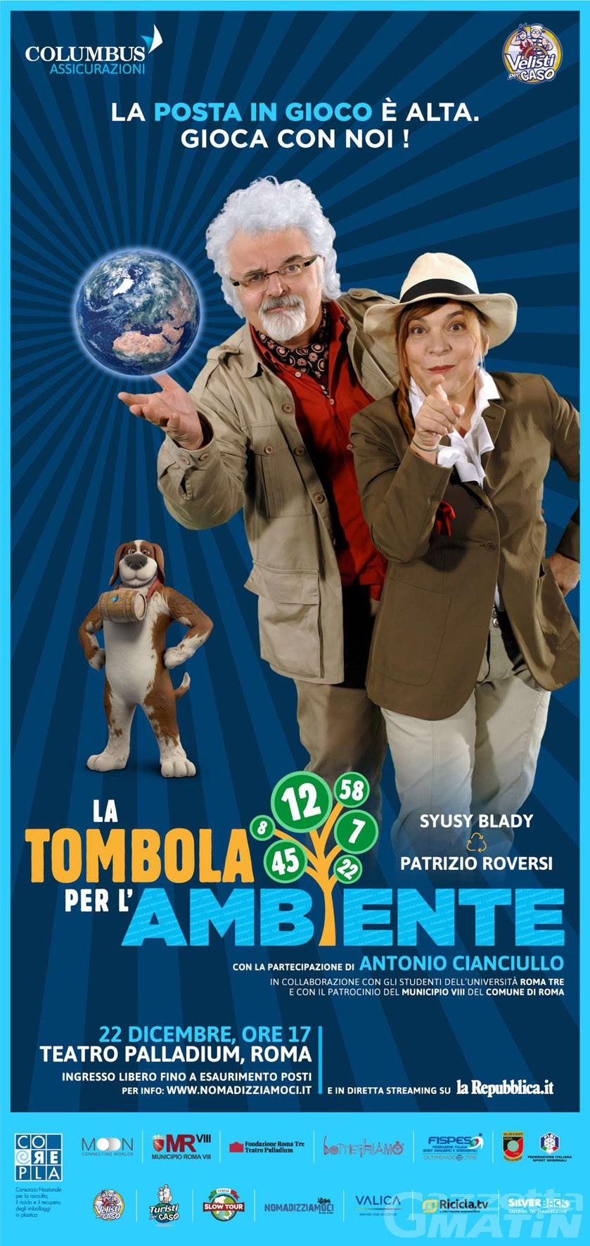 """La squadra di fondo Asiva partecipa a """"La Tombola per l'ambiente"""" con Susy Blady e Patrizio Roversi"""