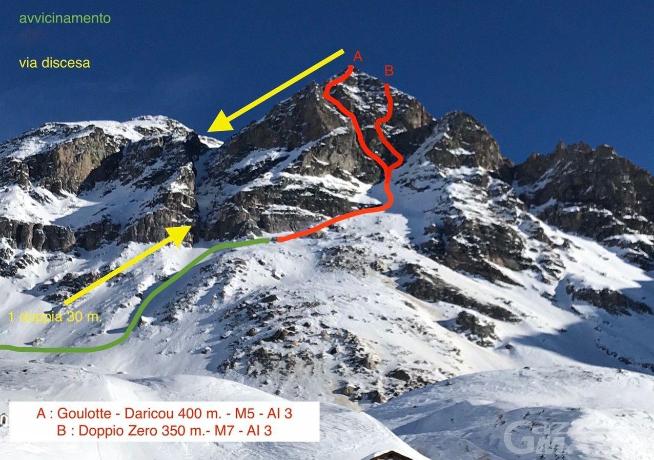 """Alpinismo: aperta la nuova via """"Gulotte Daricou-Morano"""""""