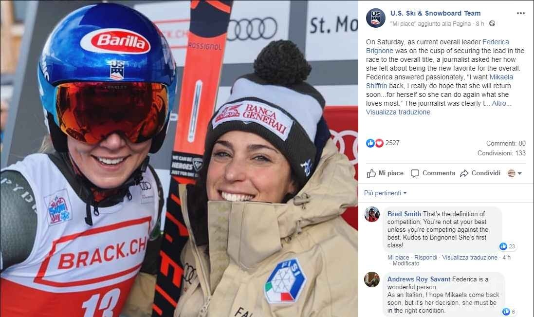 Sci alpino: Team USA rende onore a Federica Brignone