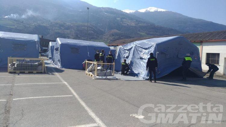 Emergenza Coronavirus, allestito ad Aosta ospedale da campo con 60 posti letto