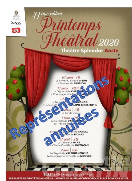 Spettacoli: annullata la rassegna di teatro in patois Printemps théâtral