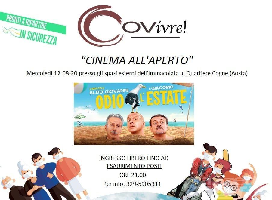Aosta, COVivre: rinviata al 26 agosto la proiezione del film Odio l'estate