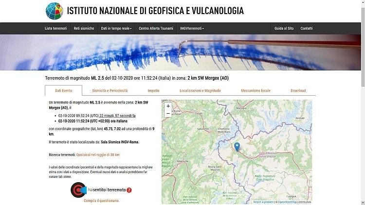 Terremoto, scossa a Morgex, è la terza in due giorni in Valle d'Aosta