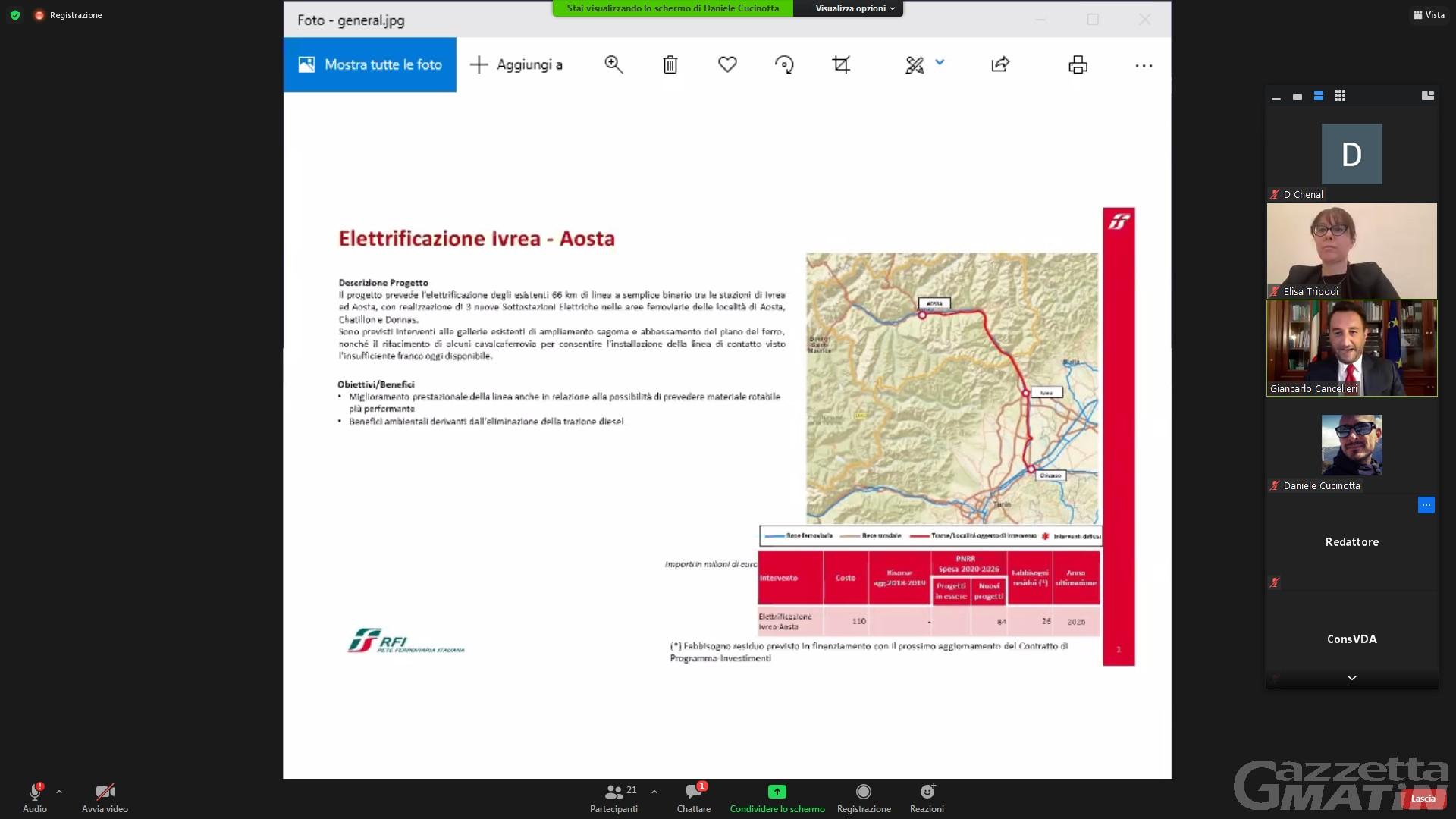 Ferrovia: via libera dallo Stato ai 110 milioni per l'elettrificazione della linea Aosta-Ivrea